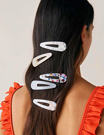 Fashion Yellow + Color Alloy Resin Triangle Hairpin Four-piece