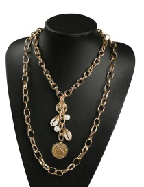 Fashion Gold Alloy Double-layer Chain Pearl Shell Necklace