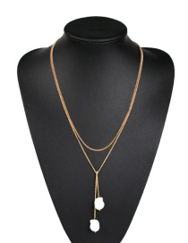 Fashion Gold Alloy Double Chain Pearl Necklace