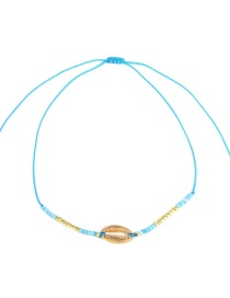 Fashion Blue Alloy Rope Rice Beads Shell Bracelet