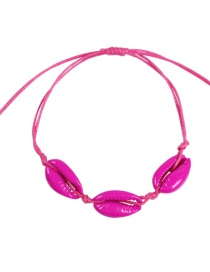 Fashion Rose Red Alloy Rope Shell Bracelet