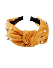 Fashion Yellow Cloth Imitation Pearl Headband