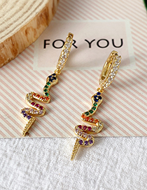 Fashion Gold Copper Inlaid Zircon Snake Earrings