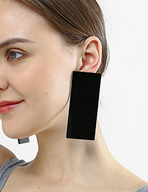 Fashion Black Large Rectangular Earrings