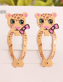 Fashion Apricot Leopard Child Hair Clip