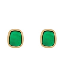 Fashion Green Alloy Resin Square Earrings