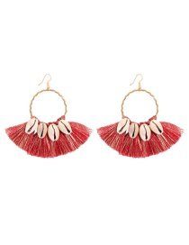Fashion Red Alloy Shell Tassel Earrings
