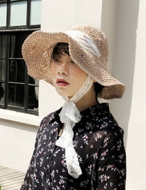 Fashion Pink Lace Tie Straw Hat