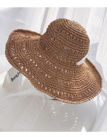 Fashion Khaki Lace Straps Hollowed Out Straw Hat