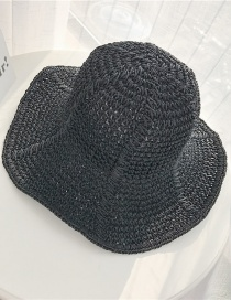 Fashion Black Foldable Vertical Bar With Straw Hat