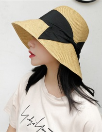 Fashion Black Bow Big Straw Hat