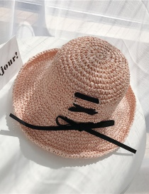 Fashion Pink Big Woven Woven Bow Sun Hat
