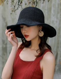 Fashion Black Woven Big Dome Washed Straw Hat