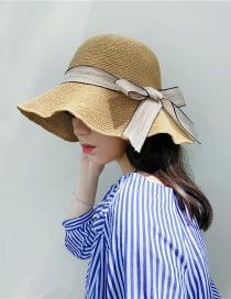 Fashion Beige Bow Big Straw Hat
