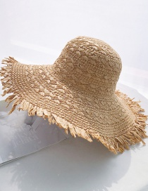 Fashion Khaki Big Bristle Shade Straw Hat
