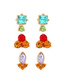Fashion Color Alloy Diamond Geometric Stud Earrings 3 Set