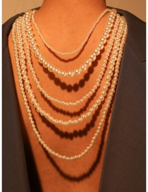 Fashion Pearl White Alloy Multi-layer Pearl Necklace