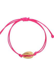 Fashion Rose Red Alloy Wax Rope Shell Bracelet