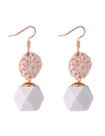Fashion Beige Geometric Shape Decorated Earrings