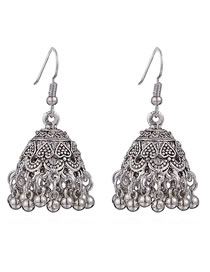 Vintage Silver Color Bellshape Decorated Earrings