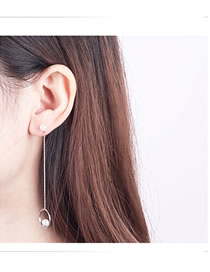Fashion Silver Color Circular Ring Decorated Long Earrings