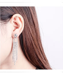 Fashion Silver Color Full Diamond Design Tassel Earrings