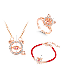 Simple Rose Gold Pig Shape Decorated Jewelry Set