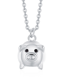 Fashion Silver Color Pig Shape Decorated Necklace