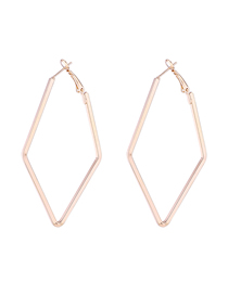 Simple Gold Color Rhombus Shape Decorated Earrings