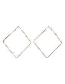 Simple Gold Color Square Shape Decorated Earrings