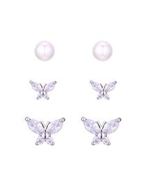 Fashion Silver Pearl Butterfly S925 Silver Needle Set Earrings (platinum)