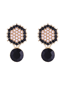 Fashion 14k Gold + Black Hexagon Full Diamond Pearl Plated Gold S925 Silver Needle Stud Earrings