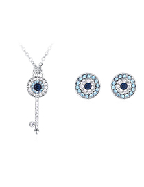 Fashion  Devil's Eye Key Crystal Necklace Earrings Set