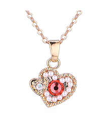 Fashion Champagne Gold + Water Lotus Heart-filled Crystal Necklace