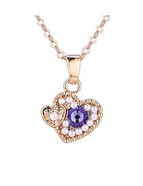 Fashion Champagne Gold + Violet Heart-filled Crystal Necklace