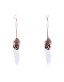 Fashion White Fringed Feather Earrings