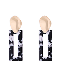 Fashion Black Lotus Leaf Geometric Earrings