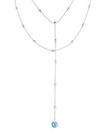 Fashion Platinum + Sea Blue Crystal Necklace - Water Moon
