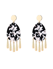 Fashion Black Plated Gold Oval Earrings