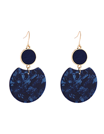 Fashion Dark Blue Round Earrings