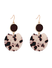 Fashion Coffee Plated Gold Round Earrings