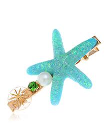 Fashion Blue Alloy Diamond-studded Pearl Starfish Hairpin