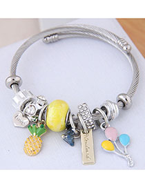 Fashion Yellow Metal Fruit Pendant Bracelet