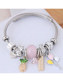 Fashion Pink Metal Fruit Pendant Bracelet