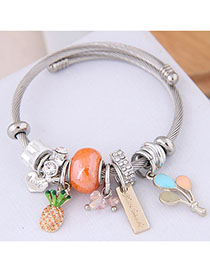 Fashion Orange Metal Fruit Pendant Bracelet