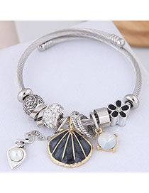Fashion Black Metal Shell Pendant Bracelet