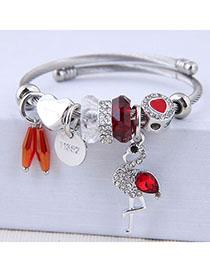 Fashion Red Metal Flash Drill Pendant Bracelet