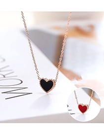 Fashion Black Titanium Steel Love Necklace