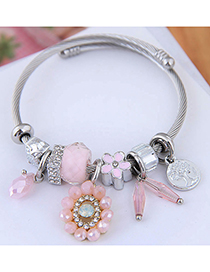 Fashion Pink Metal Pendant Multi-element Bracelet