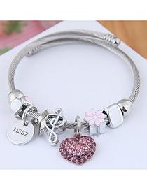 Fashion Pink Metal Love Pendant Multi-element Bracelet